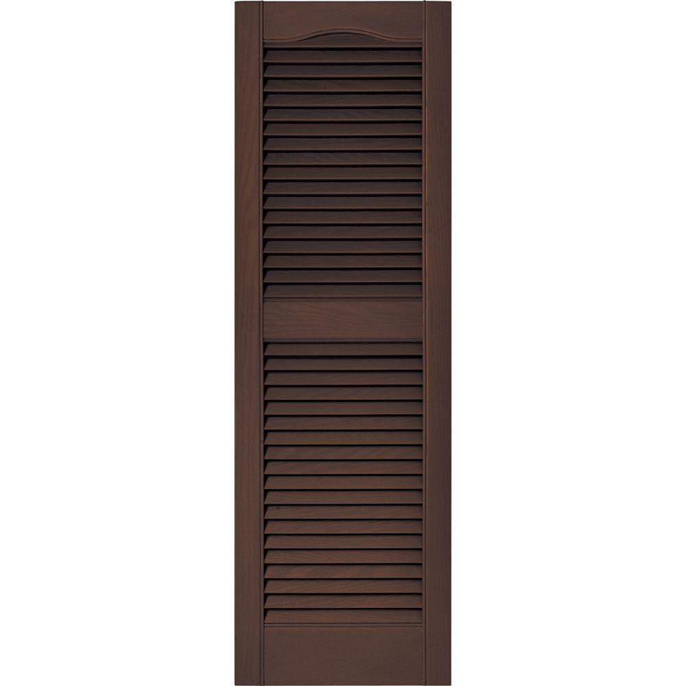 Builders Edge 15 in. x 48 in. Louvered Vinyl Exterior Shutters Pair in #009 Federal Brown