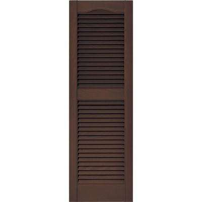 15 in. x 48 in. Louvered Vinyl Exterior Shutters Pair in #009 Federal Brown