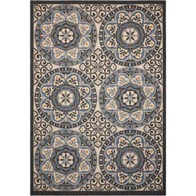 Caribbean Ivory/Charcoal 5 ft. x 7 ft. Indoor/Outdoor Area Rug
