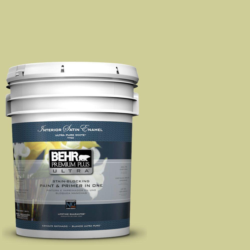 BEHR Premium Plus Ultra 5-gal. #400D-4 Corn Husk Green Satin Enamel Interior Paint