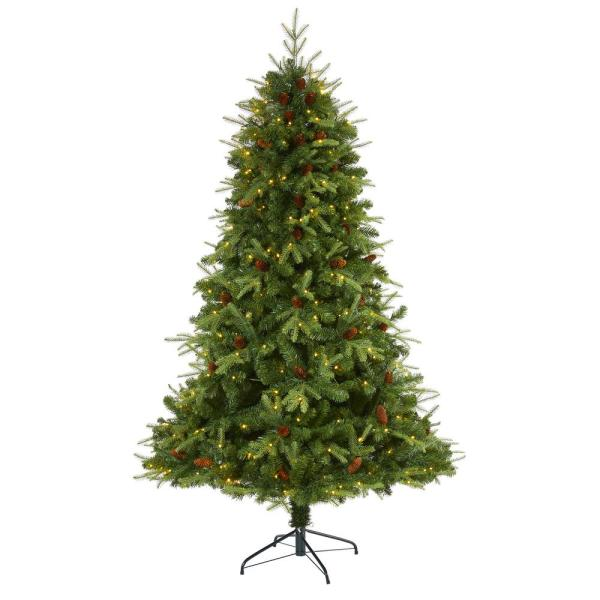 7 ft. Pre-Lit Wellington Spruce  Natural Look  Artificial Christmas Tree with 400 Clear LED Lights and Pine Cones