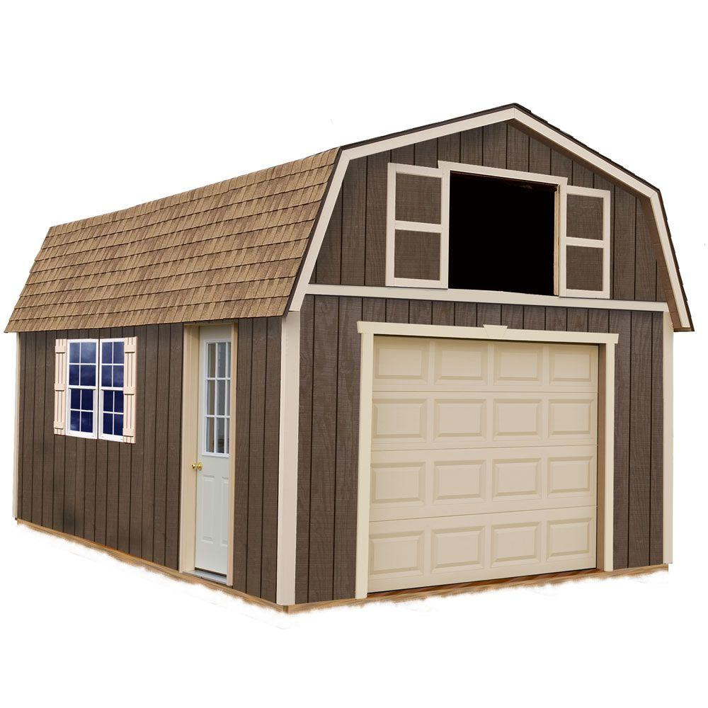 Best barns tahoe 12 ft x 16 ft wood garage kit without for 12x18 garage plans