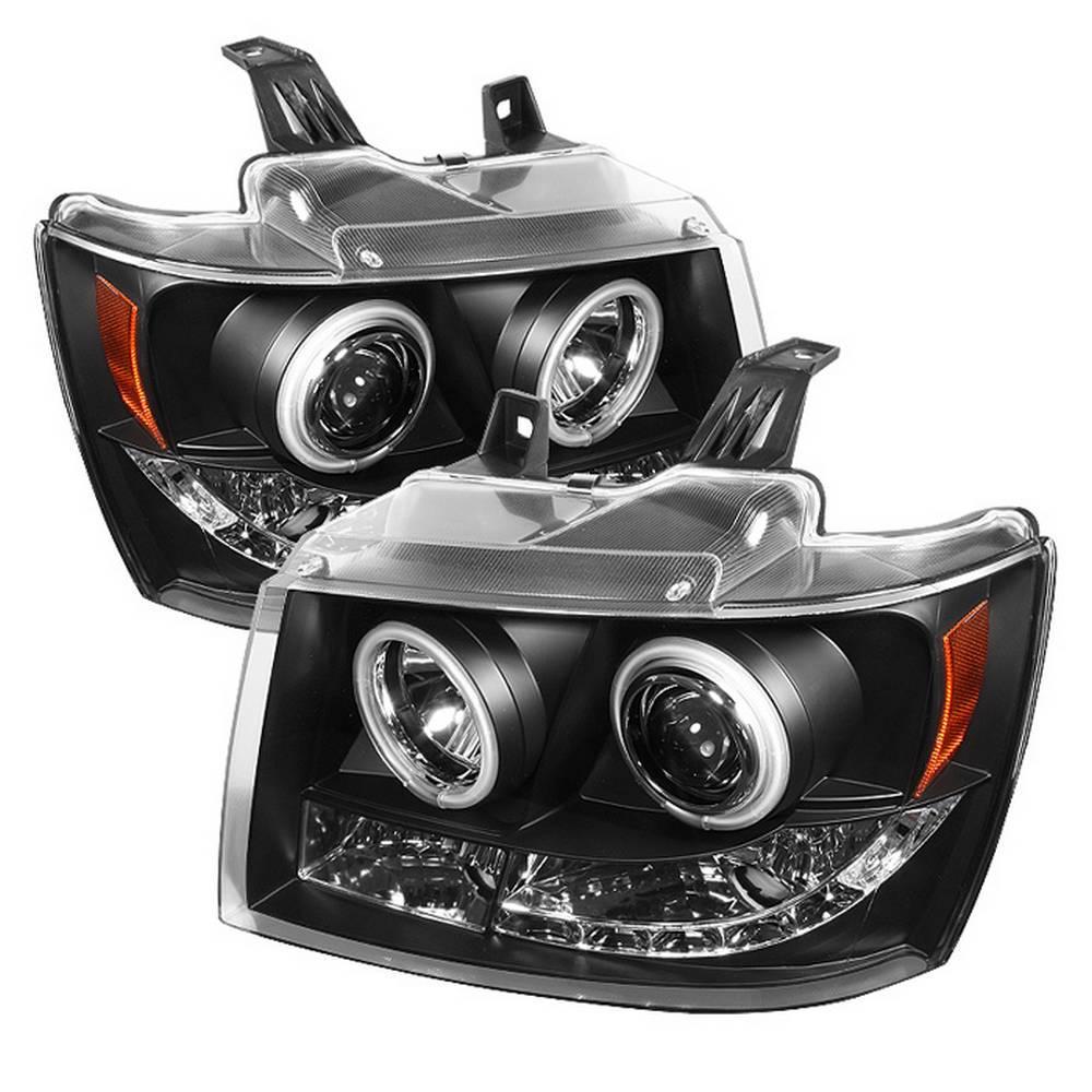 Chevy Suburban 1500 2500 07 14 Tahoe Avalanche Projector Headlights Ccfl Halo Black