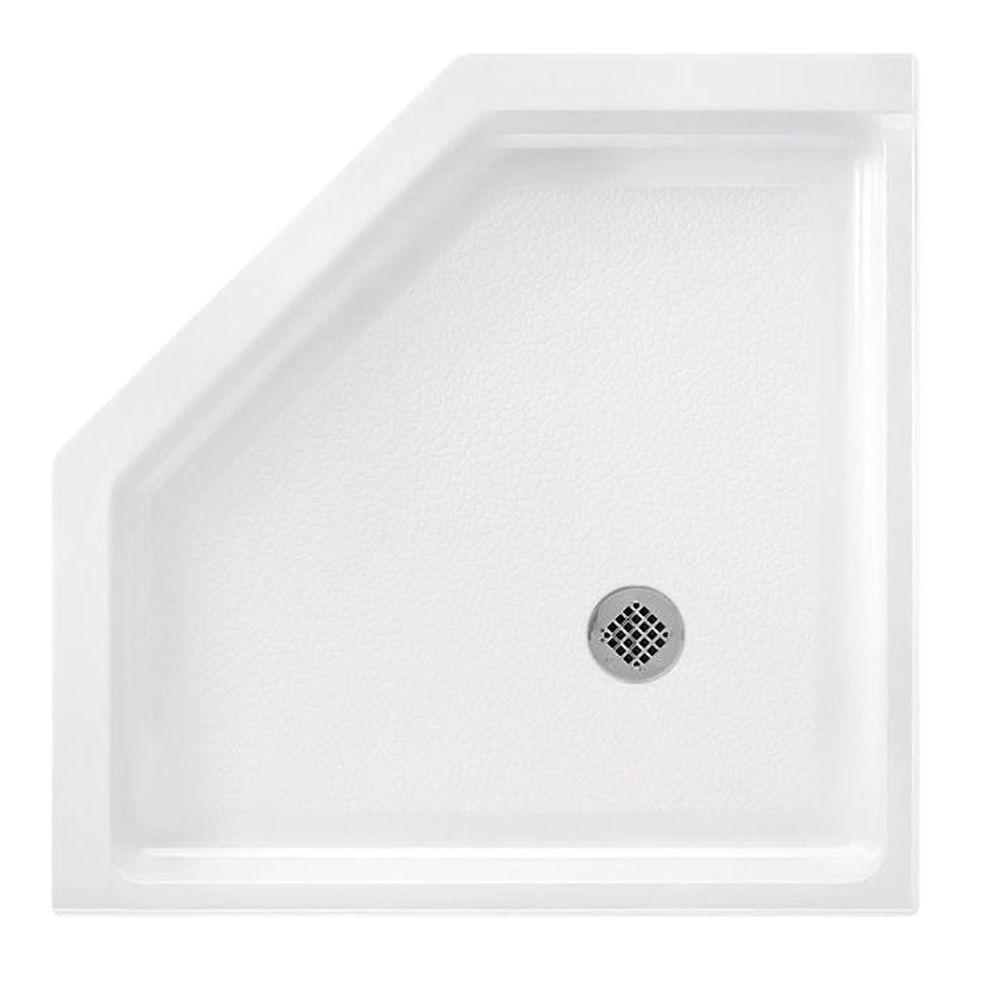 Swan Neo Angle 36 in. x 36 in. Solid Surface Single Threshold Shower Floor in White