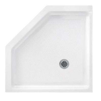 Neo Angle 36 in. x 36 in. Solid Surface Single Threshold Shower Pan in White