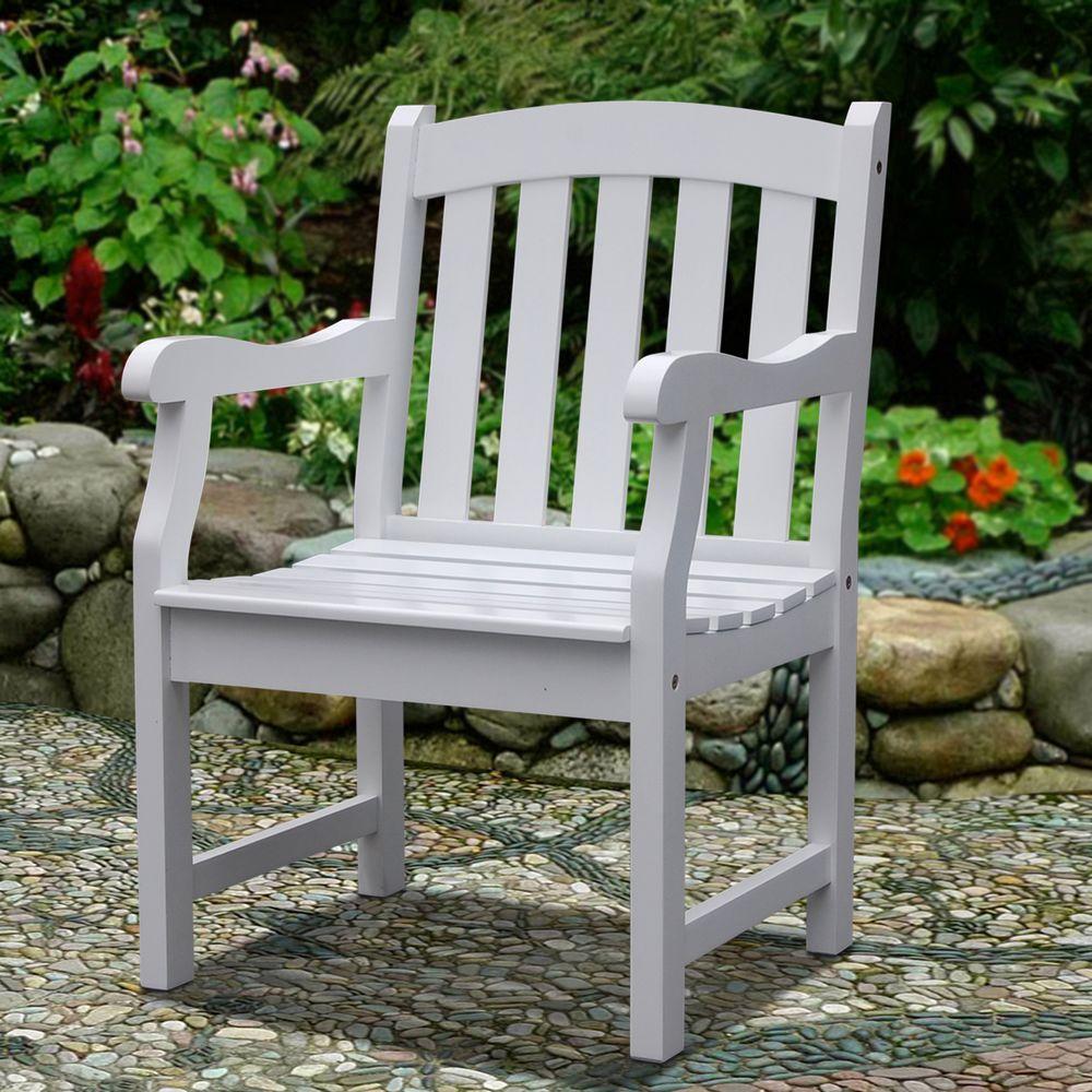 Vifah Bradley Acacia Slatted White Patio Armchair-V1339 ...