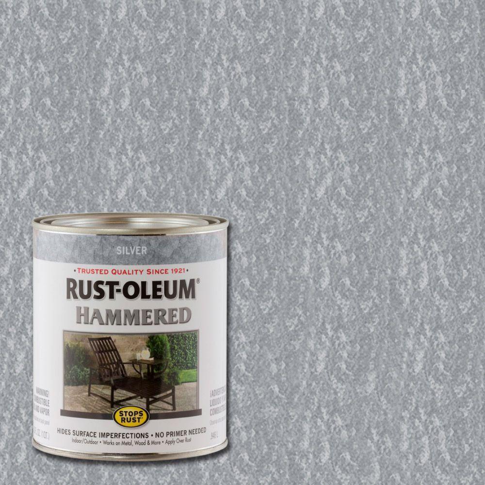 Rust-Oleum Stops Rust 1 qt. Silver Hammered Rust Preventive Interior Paint