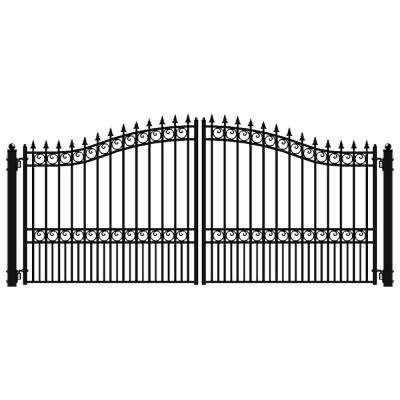 London Style 16 ft  x 6 ft  Black Steel Dual Driveway Fence Gate
