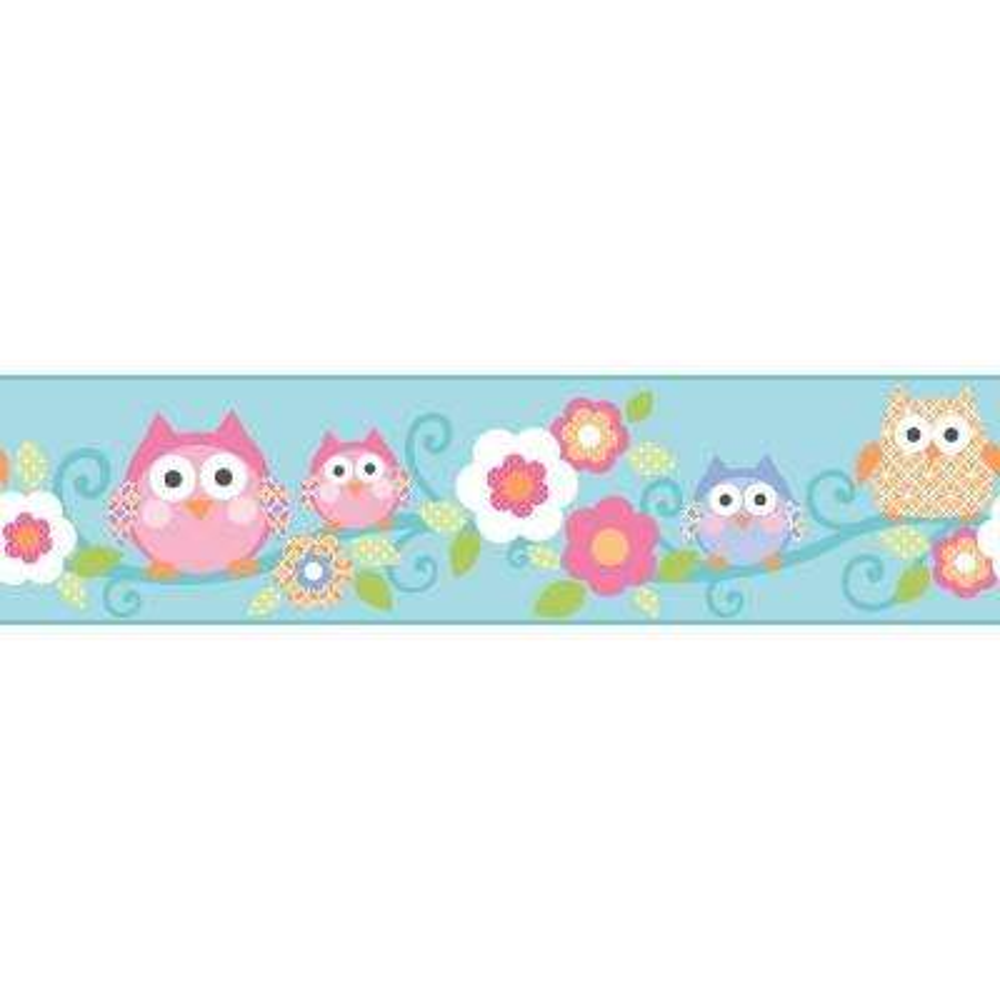 Cool Kids Owl Branch Wallpaper Border