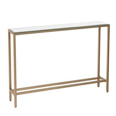 Rakin Gold Narrow Console Table with Mirrored Top