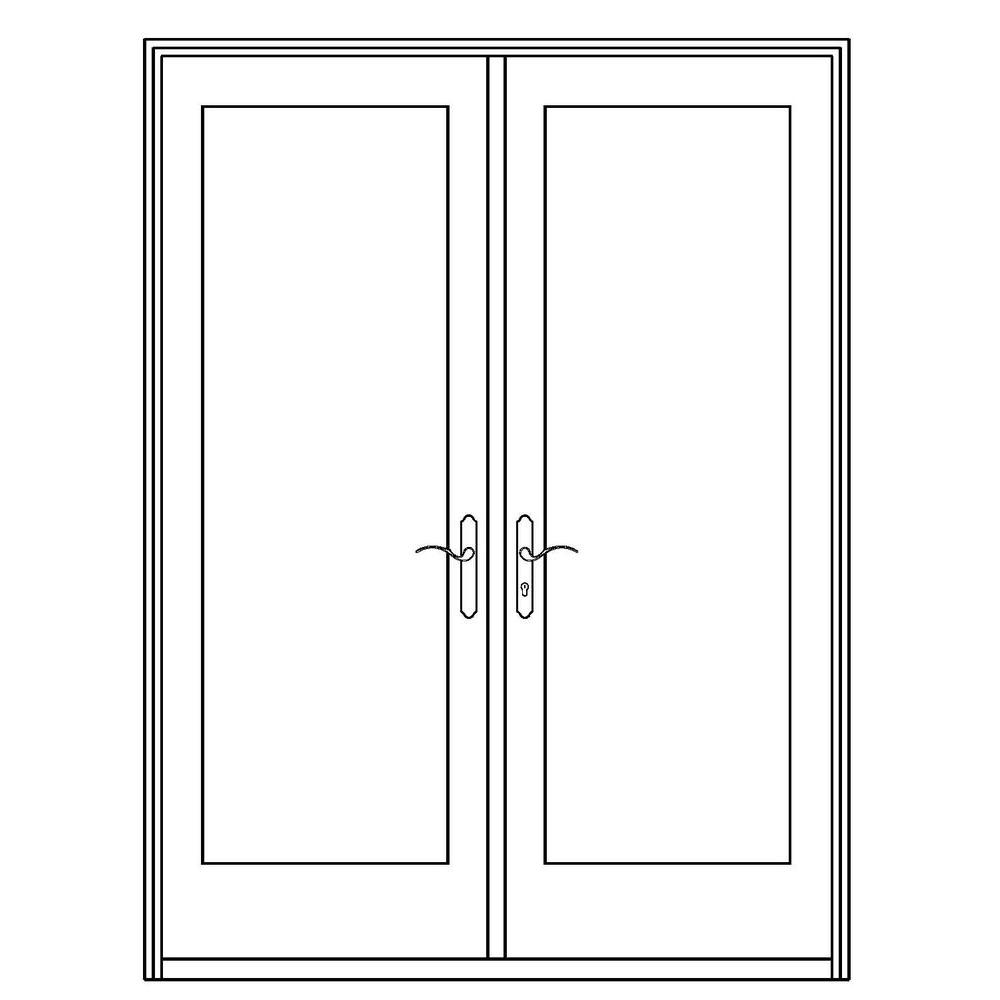 Ashworth Professional Series 72 in. x 80 in. White Aluminum/ Pre-Primed Interior Wood French Patio Door