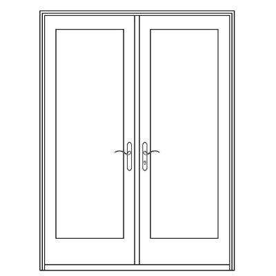 Professional Series 72 in. x 80 in. White Aluminum/ Pre-Primed Interior Wood French Patio Door