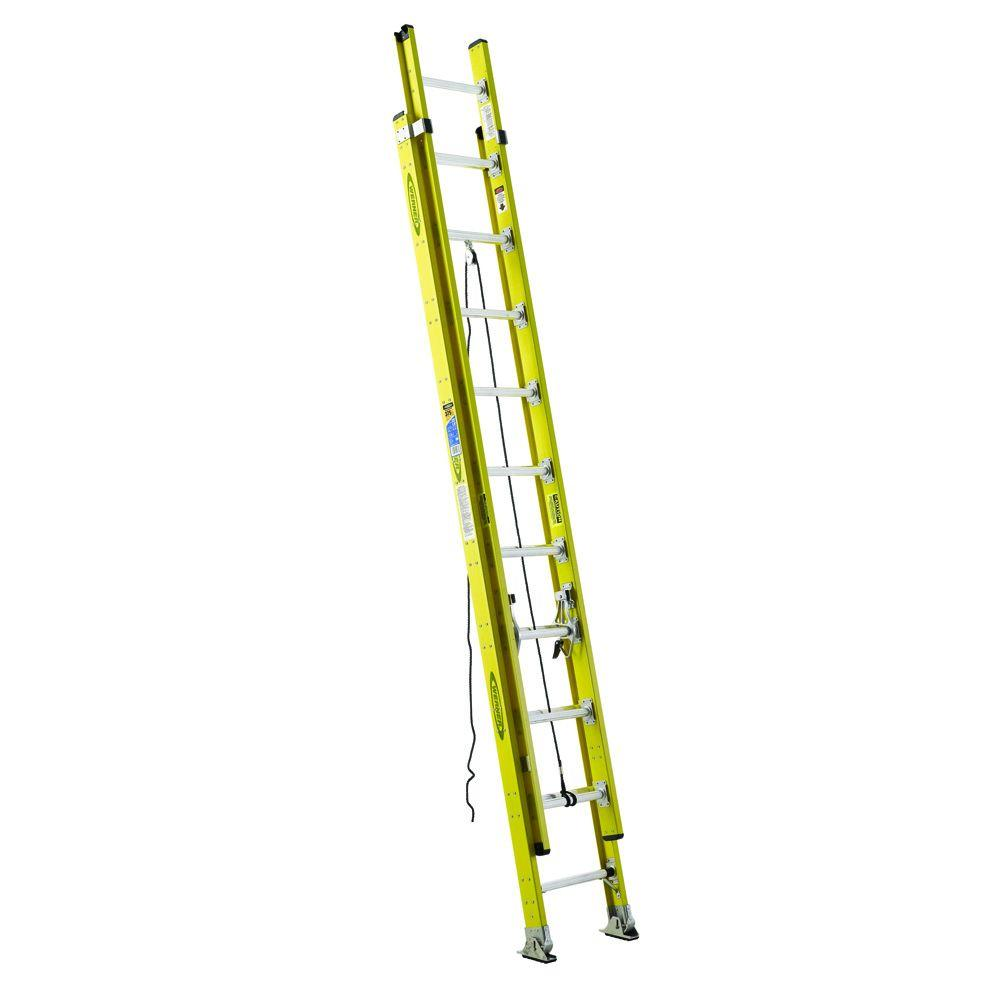 WERNER 24 ft. Fiberglass Round Rung Extension Ladder with 375 lb. Load Capacity Type IAA Duty Rating