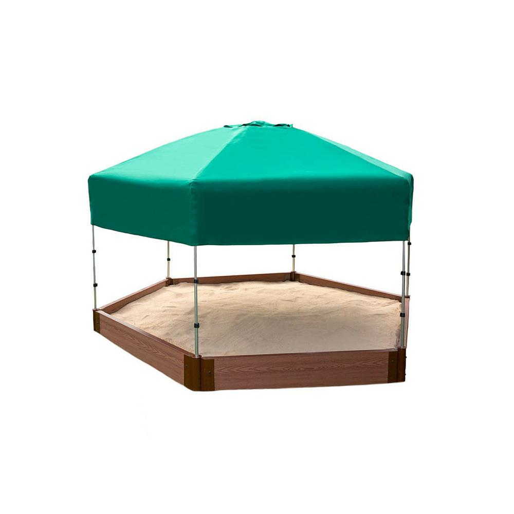 Frame It All 7 ft. x 8 ft. x 5.5 in. Sandbox Hexagon Composite with Telescoping Canopy/Cover (2 in. Profile)-300001365 - The Home Depot  sc 1 st  The Home Depot & Frame It All 7 ft. x 8 ft. x 5.5 in. Sandbox Hexagon Composite ...