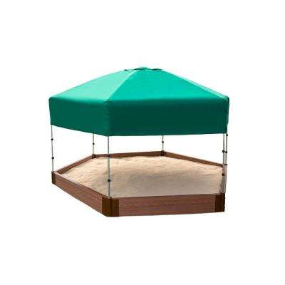 7 ft. x 8 ft. x 5.5 in. Sandbox Hexagon Composite with Telescoping Canopy/Cover (2 in. Profile)