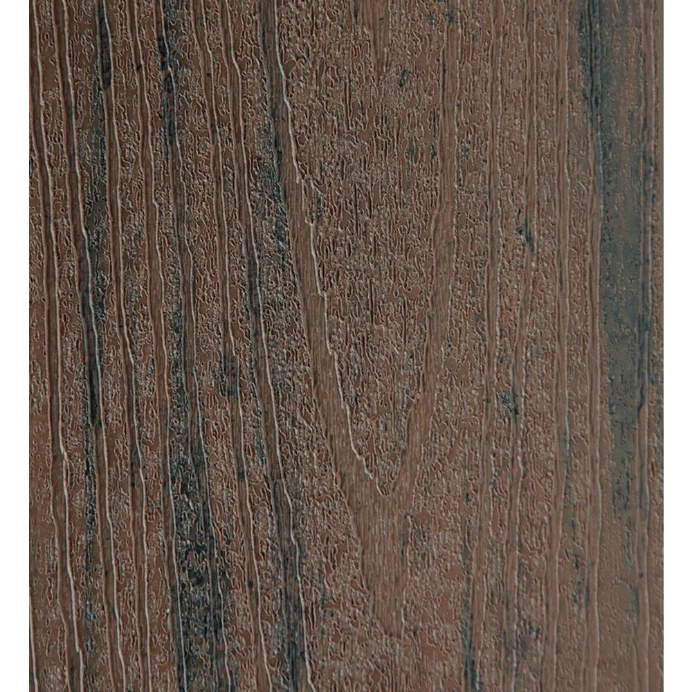 Earthwood Evolutions 15/16 in. x 5.36 in. x 2 ft. Capped Composite Decking Board Sample in Brown Oak