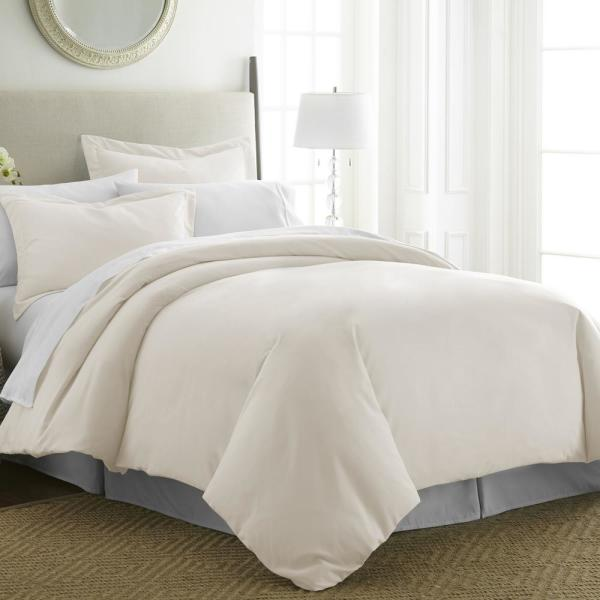 Becky Cameron Performance Ivory Twin 3-Piece Duvet Cover Set IEH-DUV-TW-IV