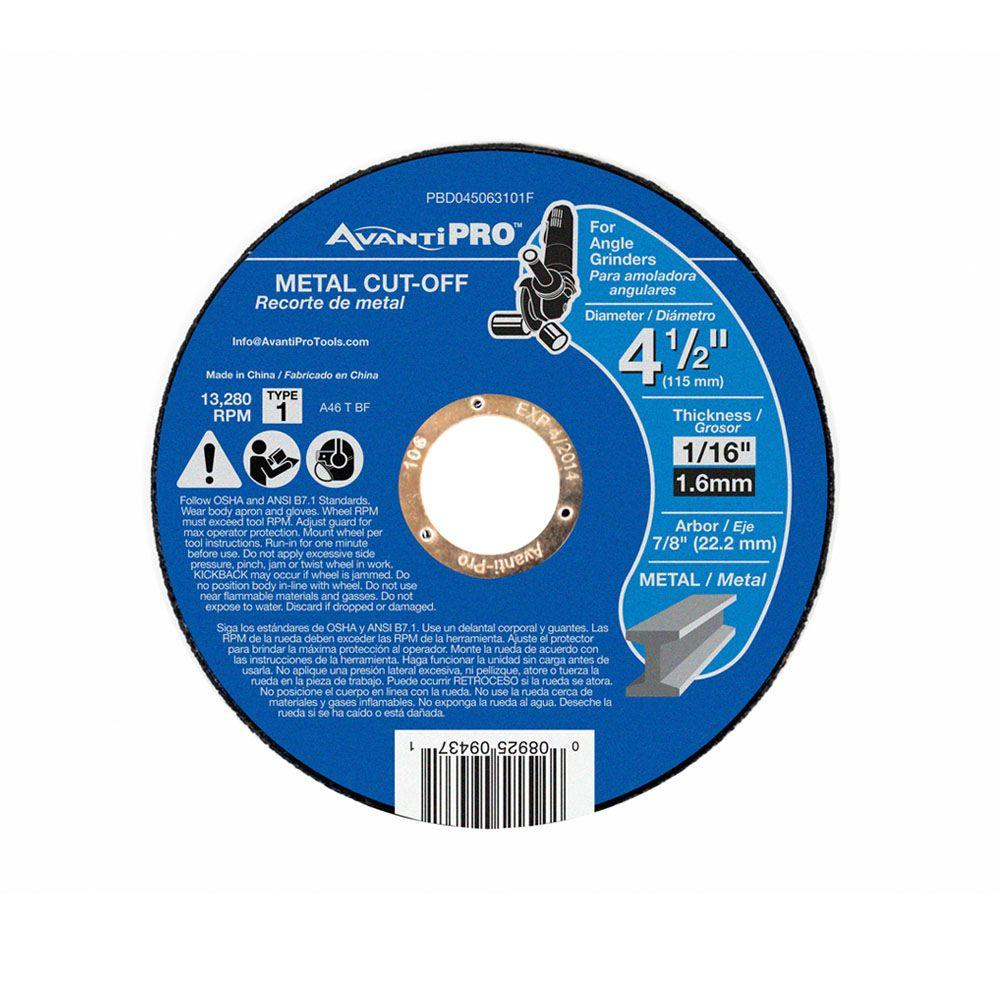 Avanti Pro 4-1/2 in. x 1/16 in. x 7/8 in. Thin Kerf Metal Cut-Off Disc (15-Pack)