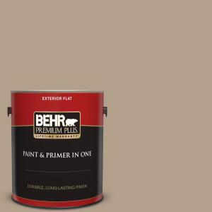 Behr Premium Plus 1 Gal Pwl 85 Stepping Stones Flat Exterior Paint And Primer In One 440001 The Home Depot