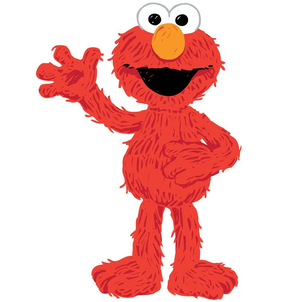 null 18 in. x 40 in. Sesame Street - Elmo Loves You 17-Piece Peel and Stick Giant Wall Decals