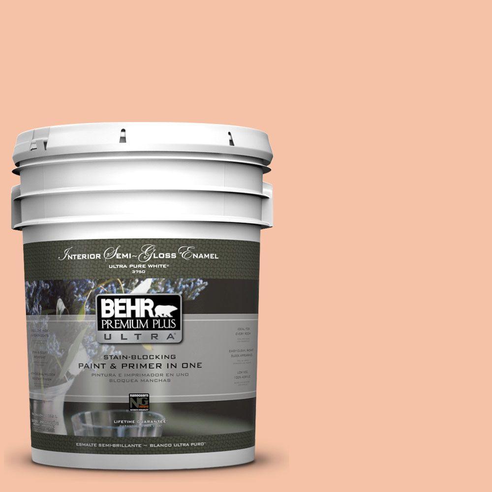 BEHR Premium Plus Ultra 5 gal. #230C-3 Pink Beach Semi-Gloss Enamel Interior Paint and Primer in One