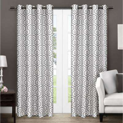 Trike Black Pearl Geometric Thermal Grommet Top Window Curtain