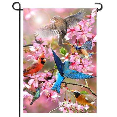 18 in. x 12.5 in. Double Sided Premium Spring Flower and Bird Welcome Garden Flags Weather Resistant Double Stitched