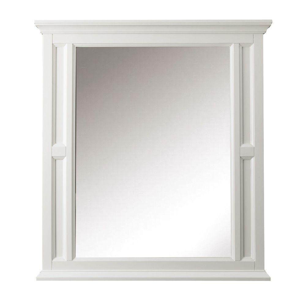 Home Decorators Collection Charleston 33 in. W x 36 in. H Single Wall Mirror in White