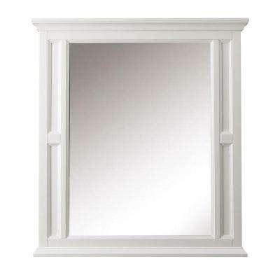 Charleston 33 in. W x 36 in. H Single Wall Mirror in White