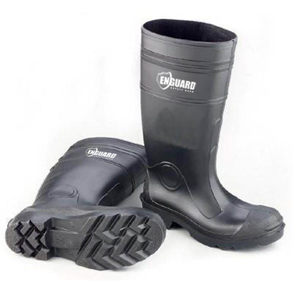 Men Size 7 Black PVC Plain Toe Boots