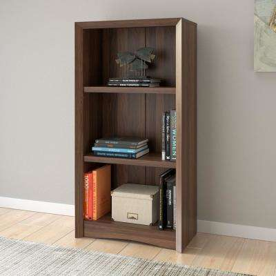 Quadra 47 in. Tall Walnut Faux Woodgrain Bookcase