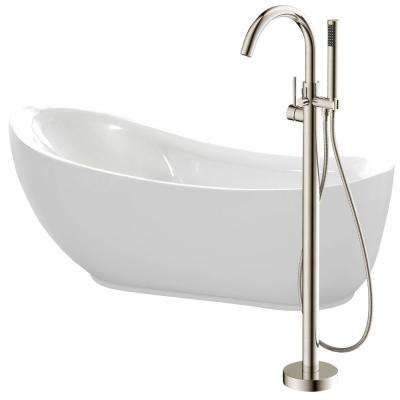 Talyah 71 in. Acrylic Flatbottom Non-Whirlpool Bathtub in White with Kros Faucet in Brushed Nickel