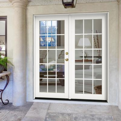 72 in. x 80 in. W-2500 White Clad Wood Left-Hand 15 Lite French Patio Door w/White Paint Interior