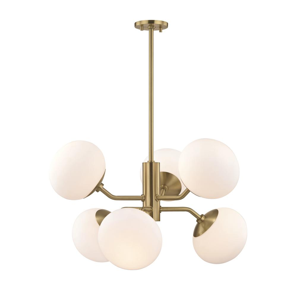 Mitzi By Hudson Valley Lighting Estee 6 Light Aged Br Chandelier With Opal Etched Gl