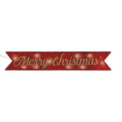 6 in. Merry Christmas Tinsel Message Banner in Red