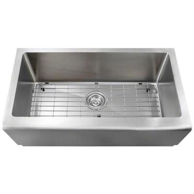 Farmhouse Apron Front Stainless Steel 33 in. Single Bowl Kitchen Sink Kit