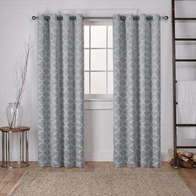 Cartago 54 in. W x 108 in. L Woven Blackout Grommet Top Curtain Panel in Dove Grey (2 Panels)