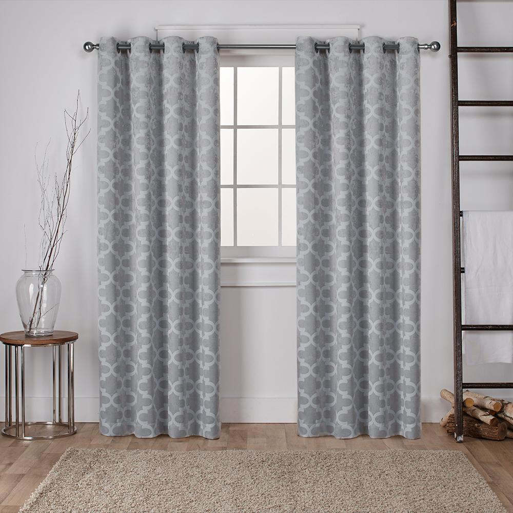 Cartago dove grey insulated woven blackout grommet top for Net curtains for patio doors