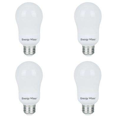 60-Watt Equivalent Warm White Light A19 Non-Dimmable UL Energy Wiser CFL Lightbulb (4-Pack)