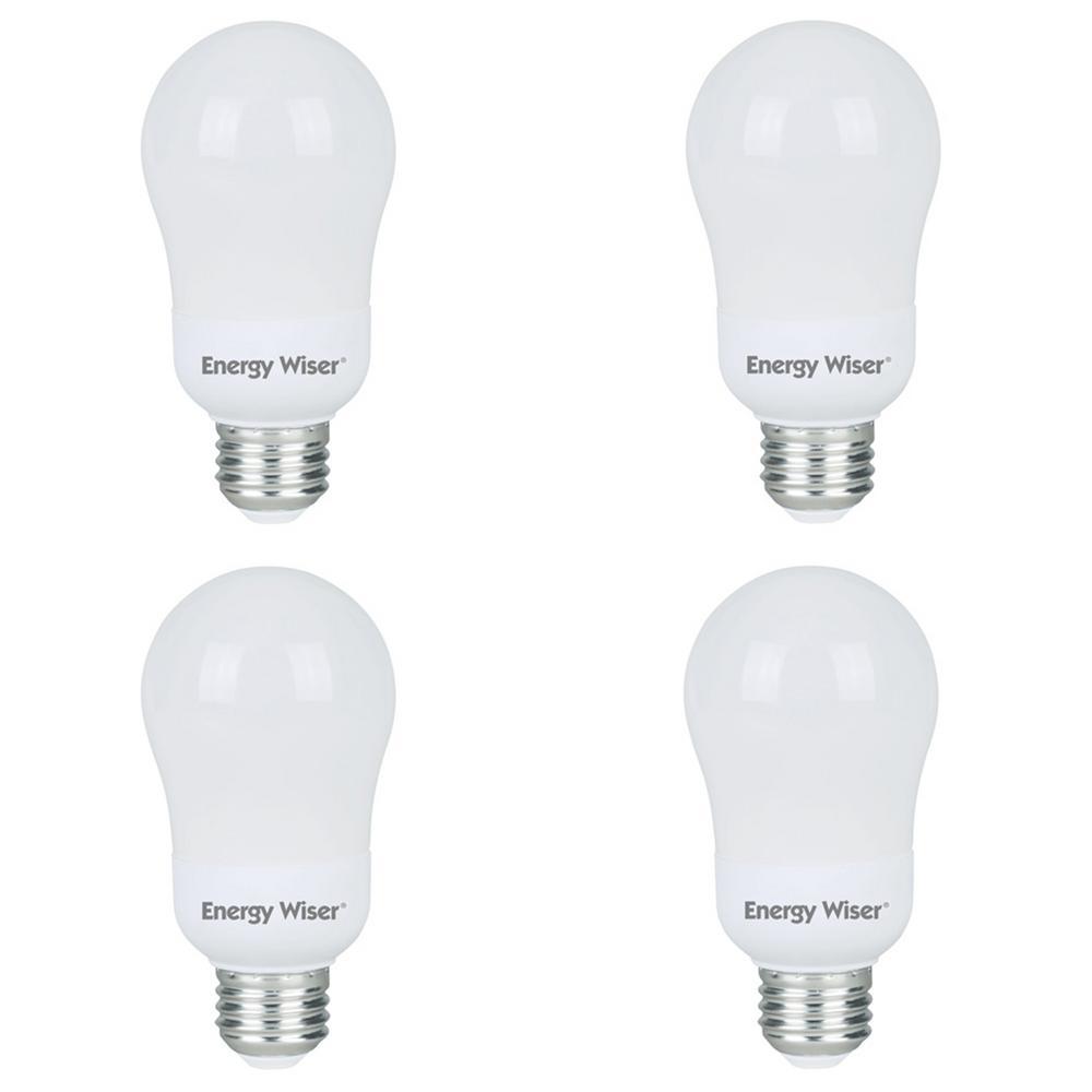 60-Watt Equivalent Warm White Light A19 Non-Dimmable UL Energy Wiser CFL Lightbulb (4-Pack)