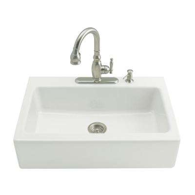 Dickinson Tile-In Farmhouse Apron-Front Cast Iron 33 in. 3-Hole Single Bowl Kitchen Sink in White
