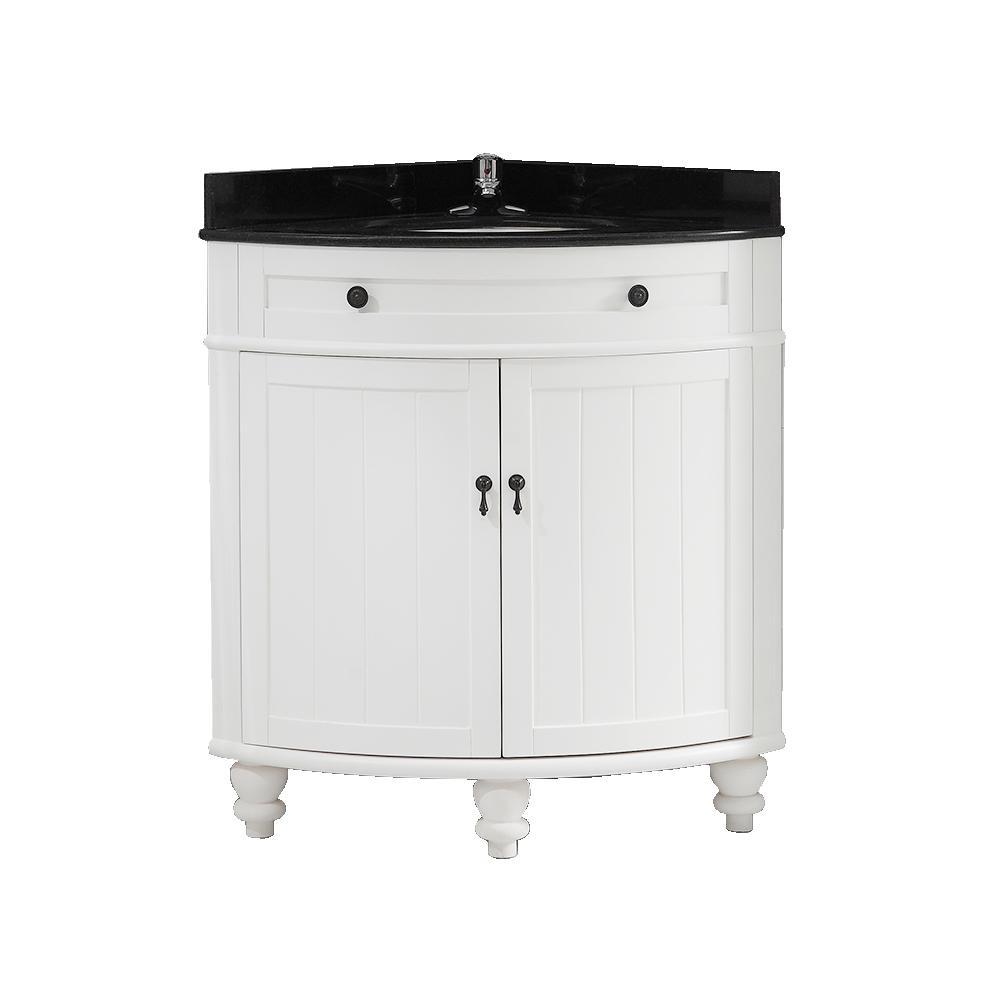 Esquina 24 in. Vanity in White with a Granite Vanity Top in Black with White Basin