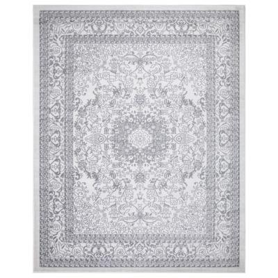 Jasmin Collection Oriental Medallion Design Ivory and Gray 7 ft. 8 in. x 9 ft. 8 in. Area Rug