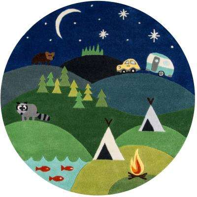 Lil Mo Whimsy Camping Fun Blue 5 ft. x 5 ft. Indoor Kids Round Area Rug