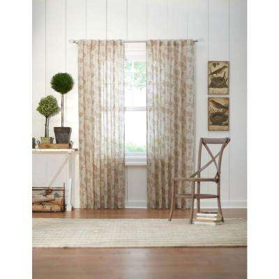Semi-Opaque Taupe Leaf Back Tab Curtain