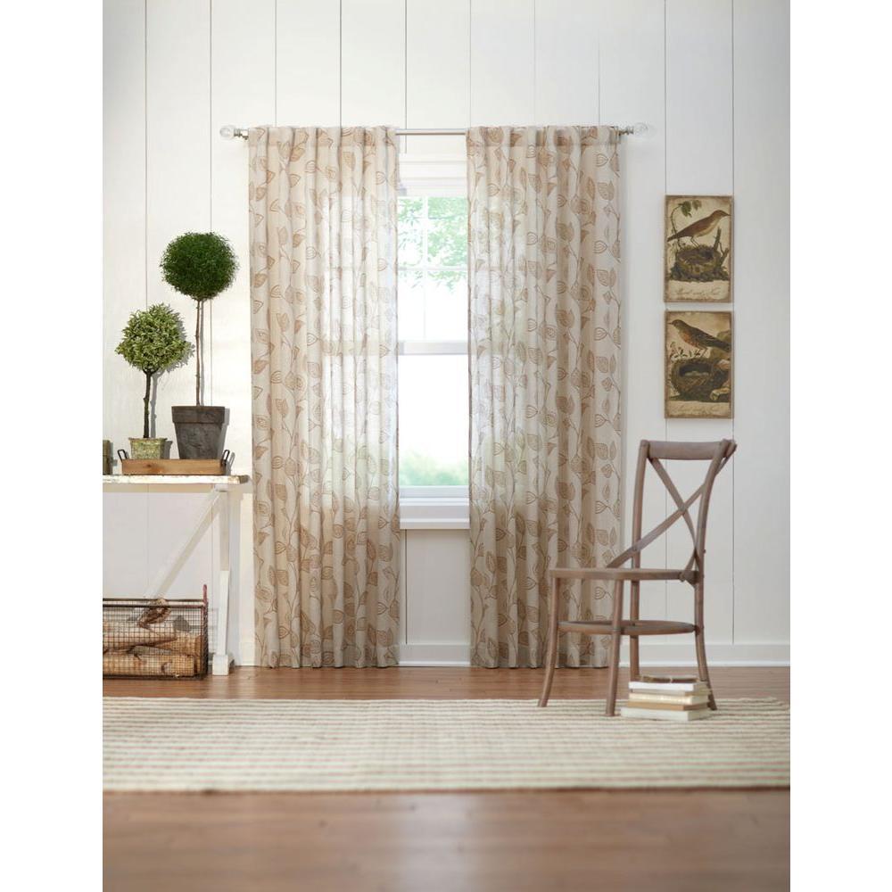 Semi-Opaque Taupe Leaf Back Tab Curtain