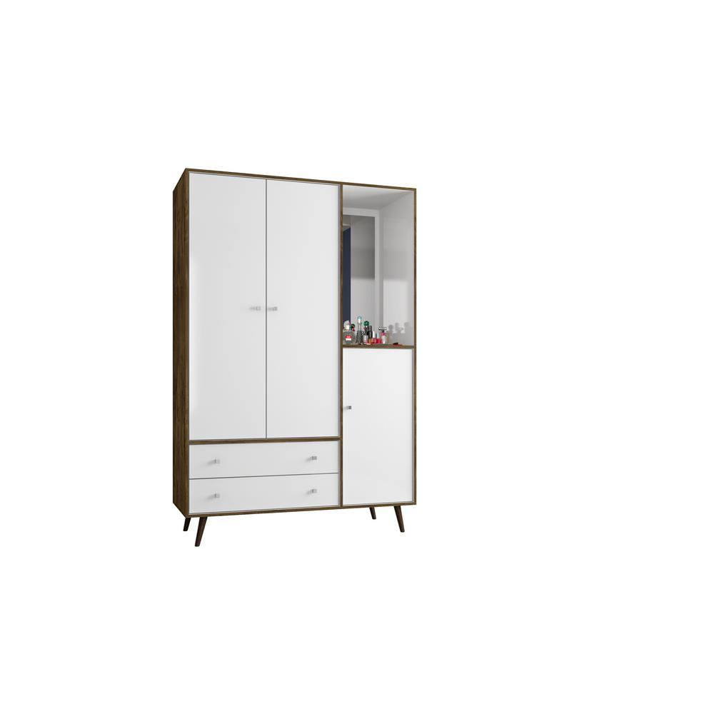 Mid Century Rustic Brown And White Modern Armoire With Mirror