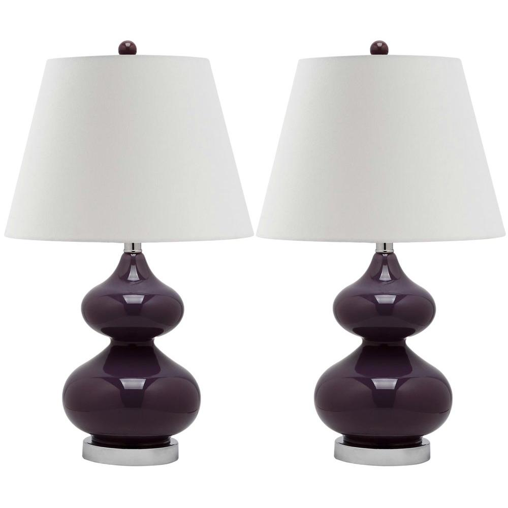 Eva 24 in. Dark Purple Double Gourd Glass Lamp (Set of