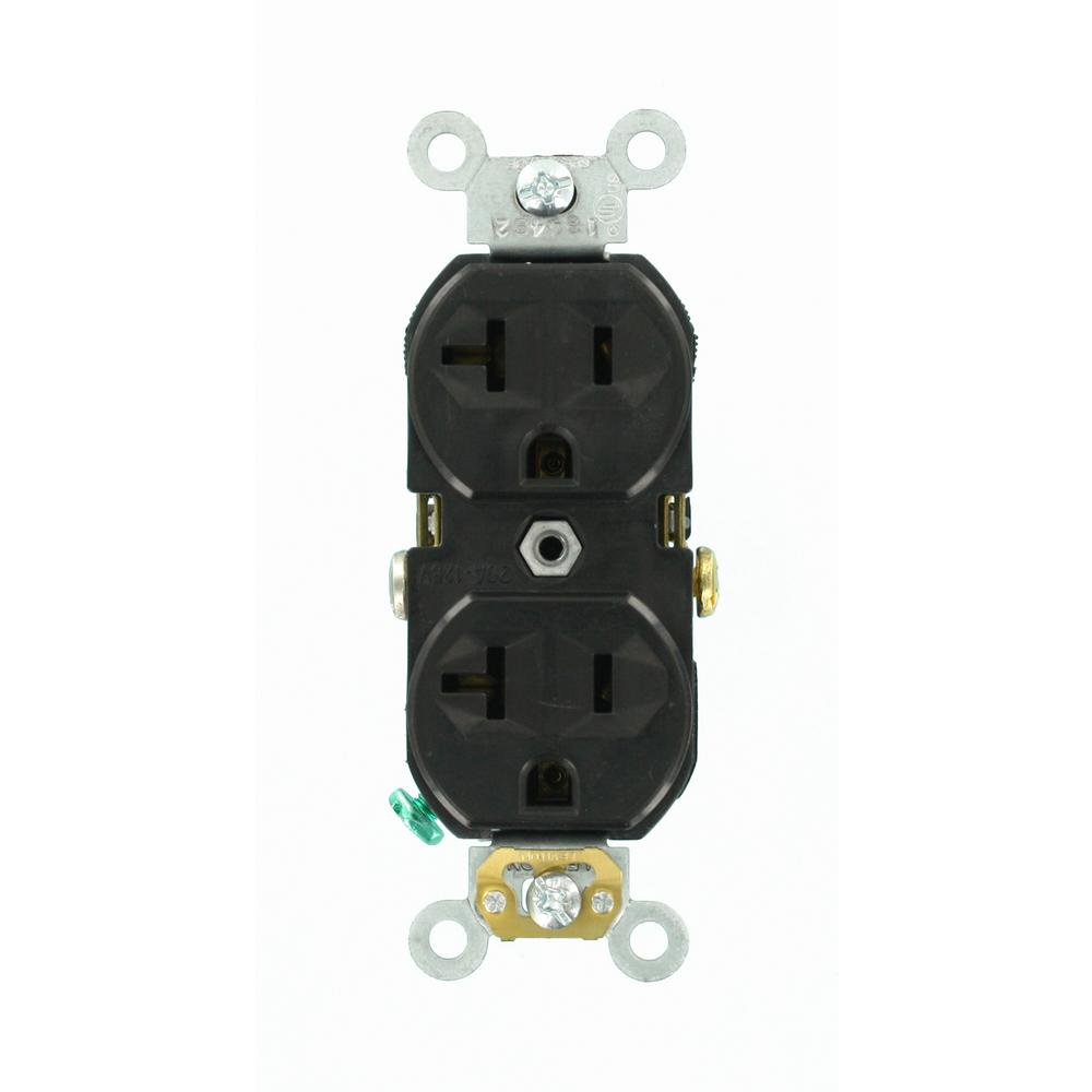 Leviton 20 Amp Commercial Grade Duplex Outlet, Black