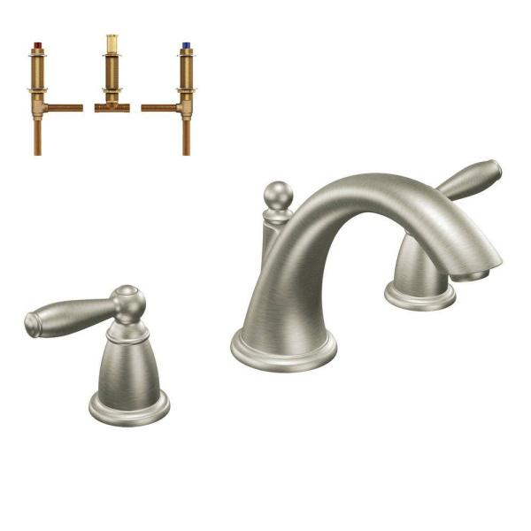 Brantford 2-Handle Deck-Mount Roman Tub Faucet Trim Kit with Valve in Brushed Nickel